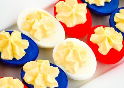 Red, white, and blue deviled eggs