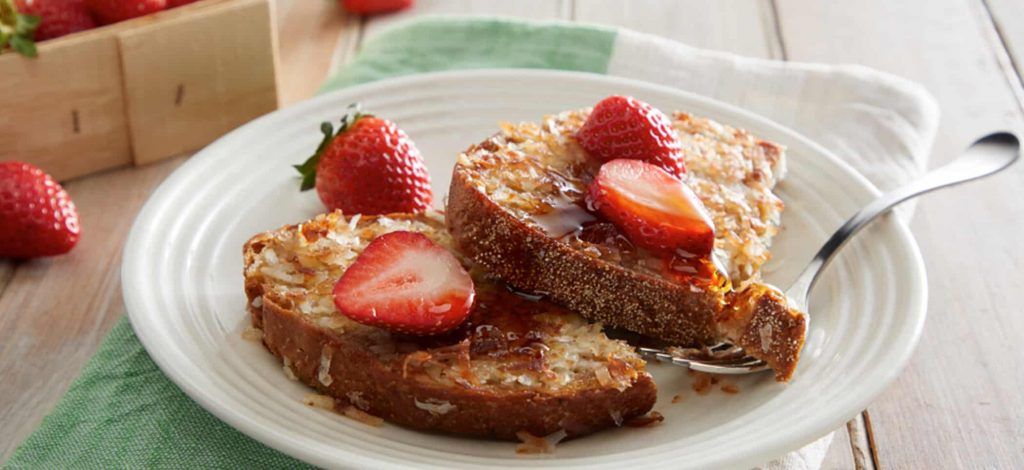 Coconut and Strawberry French Toast